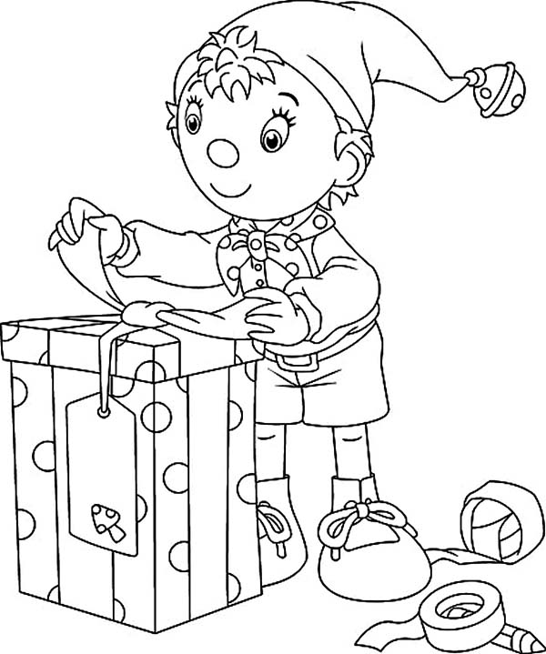 Elf, : Noddy the Elf Preparing Christmas Present Coloring Page