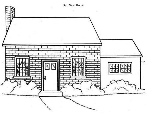 House, : Our New House in Houses Coloring Page