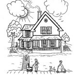 House, Perfect House With Family In Houses Coloring Page: Perfect House with Family in Houses Coloring Page