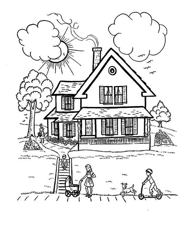 House, : Perfect House with Family in Houses Coloring Page