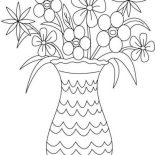 Flower Bouquet, Picture Of Flower Bouquet In Vase Coloring Page: Picture of Flower Bouquet in Vase Coloring Page