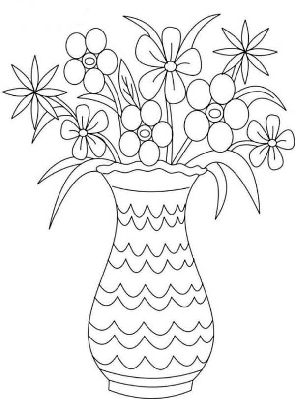 Flower Bouquet, : Picture of Flower Bouquet in Vase Coloring Page