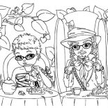 Mad Hatter, Picture Of Mad Hatter And Alice Having Tea Party Coloring Page: Picture of Mad Hatter and Alice Having Tea Party Coloring Page