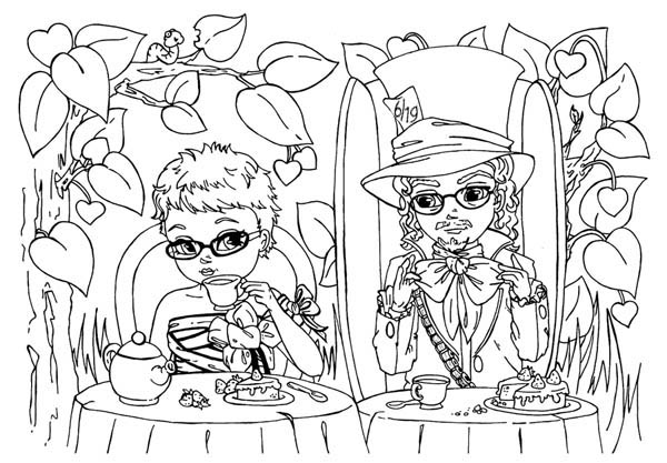 Mad Hatter, : Picture of Mad Hatter and Alice Having Tea Party Coloring Page