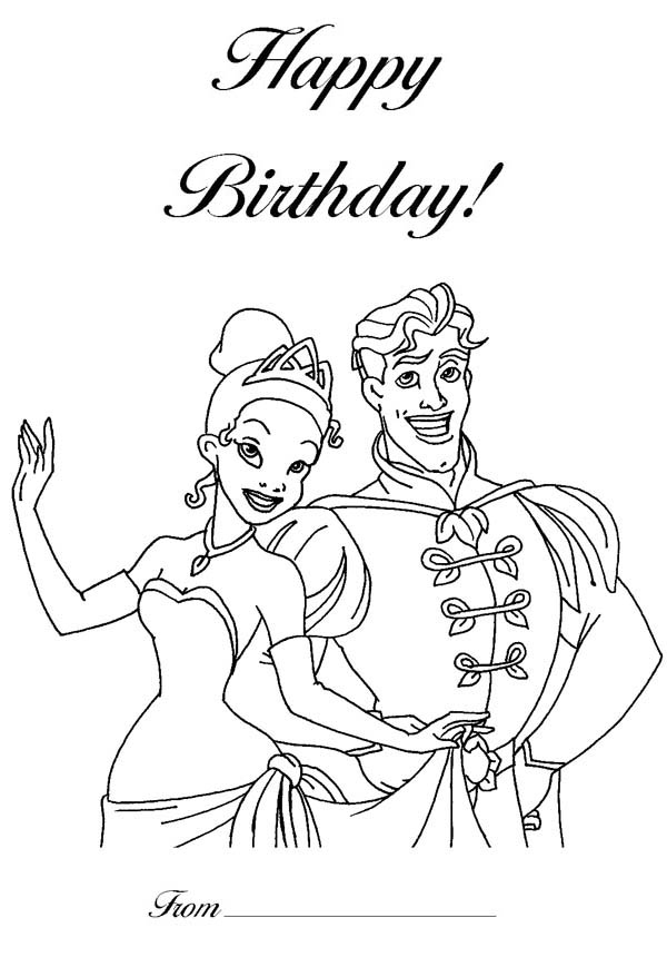 Happy Birthday, : Prince Charming and Beautiful Princess in Happy Birthday Coloring Page