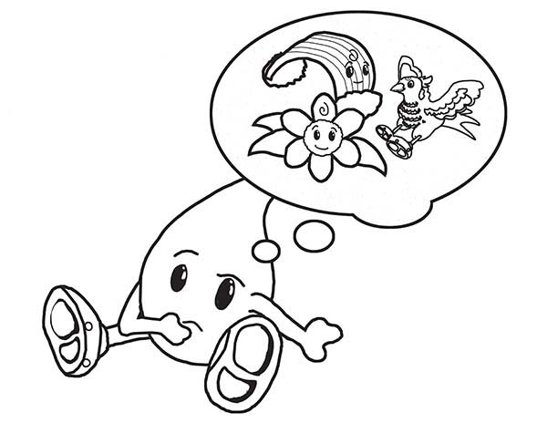 Raindrop, : Raindrop Boy THink of His Friend Coloring Page