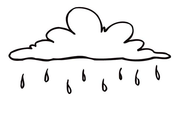 Raindrop, : Raindrop Falling from Beautiful Cloud Coloring Page