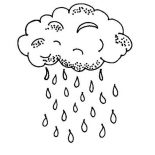 Raindrop, Raindrop Falls From Black Cloud Coloring Page: Raindrop Falls from Black Cloud Coloring Page