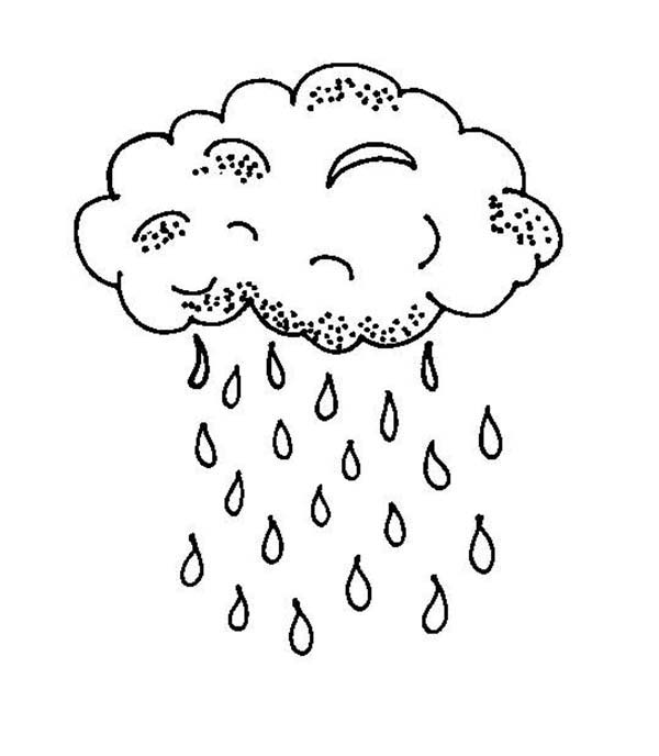 Raindrop, : Raindrop Falls from Black Cloud Coloring Page