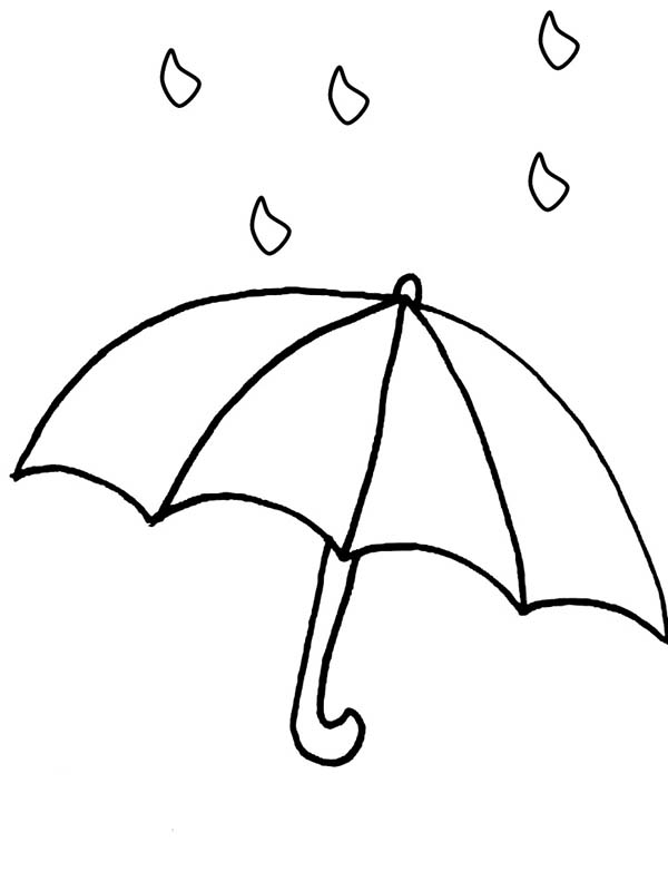 Raindrop, : Raindrop and Umbrellah Coloring Page