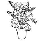 Flower Bouquet, Red Roses In Vase For Flower Bouquet Coloring Page: Red Roses in Vase for Flower Bouquet Coloring Page