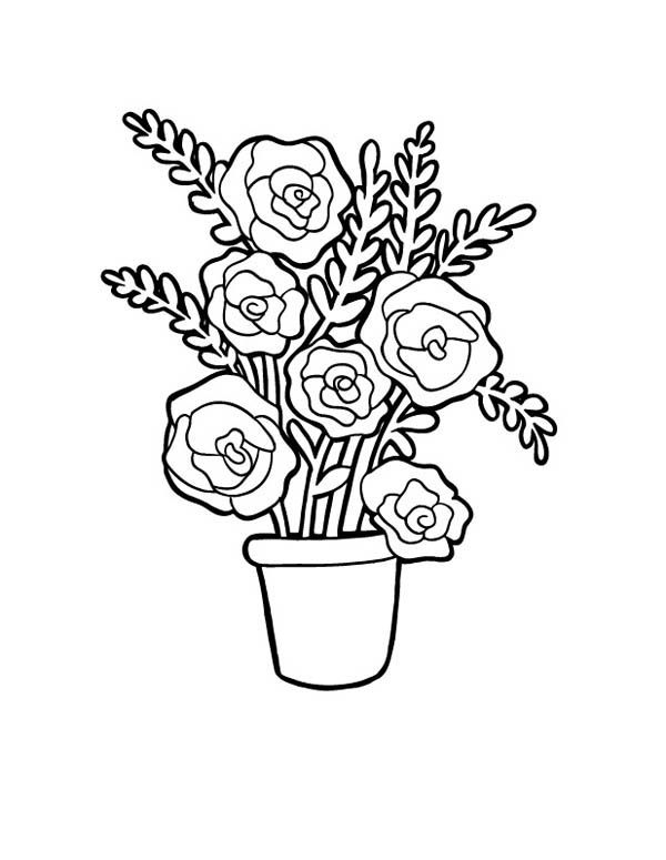 Flower Bouquet, : Red Roses in Vase for Flower Bouquet Coloring Page