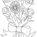 Flower Bouquet, Rose And Carnation Flower Bouquet Coloring Page: Rose and Carnation Flower Bouquet Coloring Page