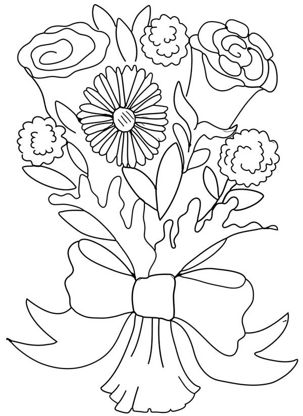 Rose And Carnation Flower Bouquet Coloring Page Color Luna