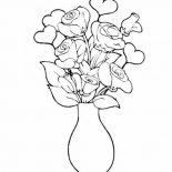 Flower Bouquet, Rose In Vase Flower Bouquet Coloring Page: Rose in Vase Flower Bouquet Coloring Page