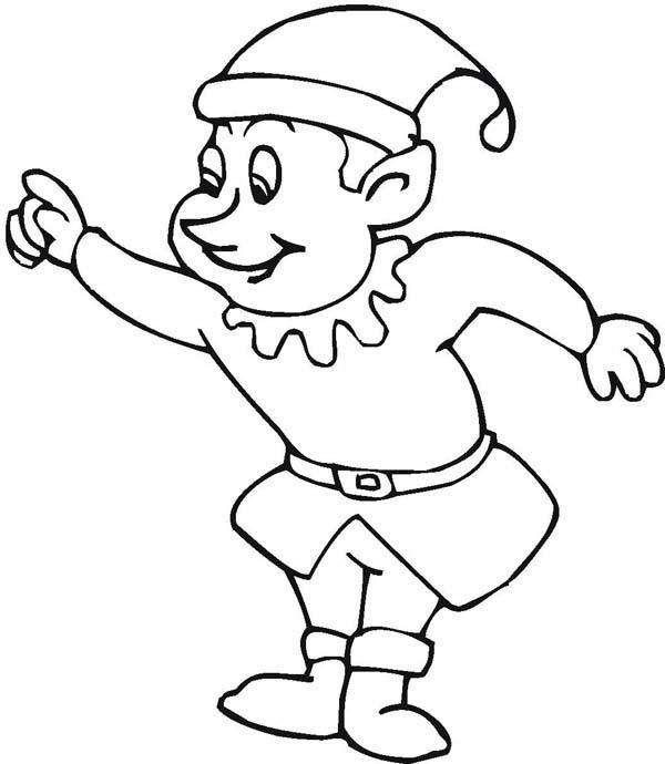 Elf, : Santa's Christmas Elf Coloring Page