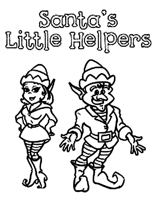 santas little helpers in elf coloring page