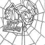 Spider, Scary Spider With Spider Web Coloring Page: Scary Spider with Spider Web Coloring Page