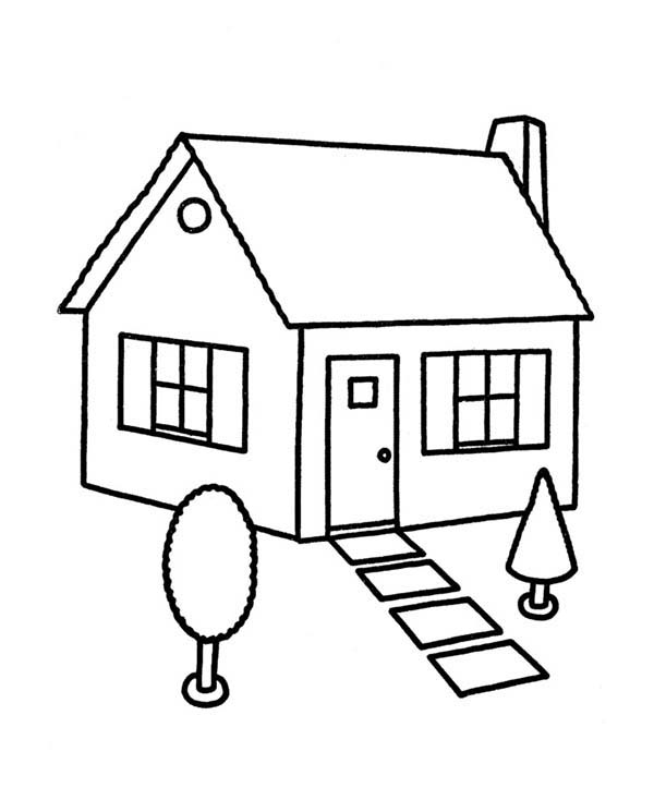 House, : Sketch House in Houses Coloring Page