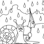 Raindrop, Snail With Broken Umbrella In Raindrop Coloring Page: Snail with Broken Umbrella in Raindrop Coloring Page