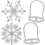 Snowflakes, Snowflakes And Christmas Bell Coloring Page: Snowflakes and Christmas Bell Coloring Page