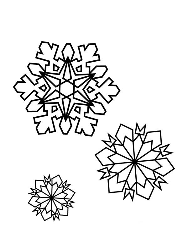 Snowflakes, : Snowflakes on Winter Coloring Page