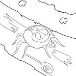 Spider, Spider Walking On Tree Branch Coloring Page: Spider Walking on Tree Branch Coloring Page