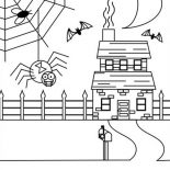 Spider, Spider Web On Haunted House Coloring Page: Spider Web on Haunted House Coloring Page