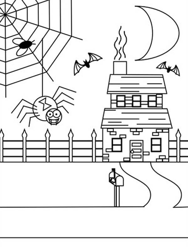 Spider, : Spider Web on Haunted House Coloring Page