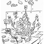 Krusty Krab, SpongeBob Making Patty In Krusty Krab Coloring Page: SpongeBob Making Patty in Krusty Krab Coloring Page
