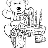 Happy Birthday, Teddy Bear And Present And Happy Birthday Cake Coloring Page: Teddy Bear and Present and Happy Birthday Cake Coloring Page