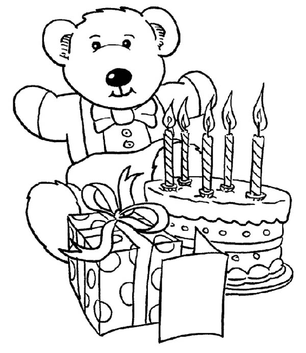 Teddy Bear And Present Happy Birthday Cake Coloring Page