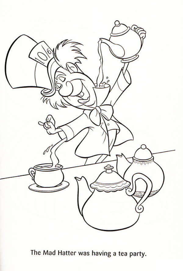 Mad Hatter, : The Mad Hatter was Having a Tea Party Coloring Page