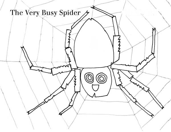 Spider, : The Very Busy Spider Working on Spider Web Coloring Page