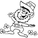 St Patricks Day, This Leprechaun Doing St Patricks Day Dance Coloring Page: This Leprechaun Doing St Patricks Day Dance Coloring Page