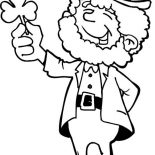 St Patricks Day, This Leprechaun Holding A Shamrock On St Patricks Day Coloring Page: This Leprechaun Holding a Shamrock on St Patricks Day Coloring Page