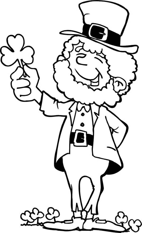 leprechaun coloring pages st patricks day appetizers | This Leprechaun Holding A Shamrock On St Patricks Day ...