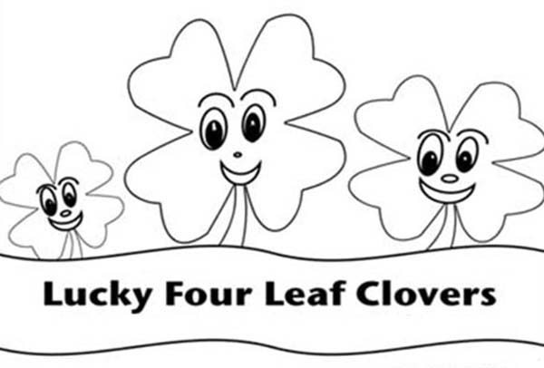Four-Leaf Clover, : Three Four-Leaf Clover for Good Luck Coloring Page