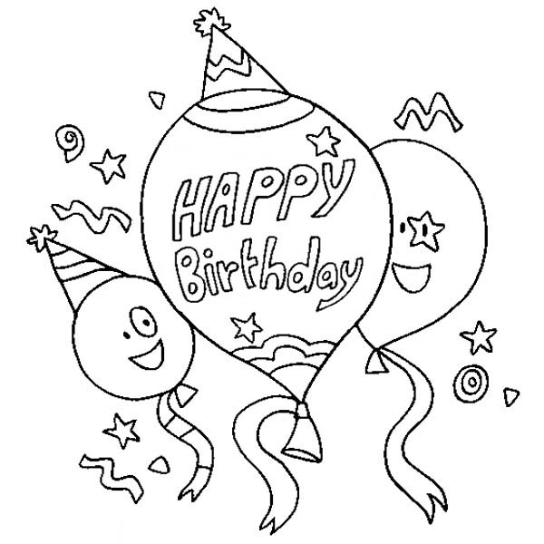 Happy Birthday, : Three Happy Birthday Baloon Coloring Page
