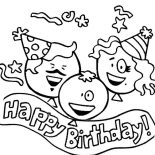 Happy Birthday, Three Happy Birthday Baloons Coloring Page: Three Happy Birthday Baloons Coloring Page