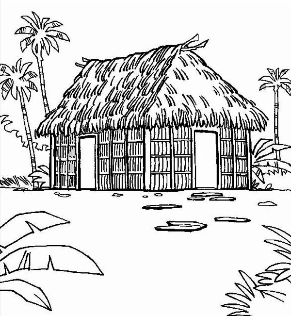 House, : Traditional Houses Coloring Page
