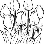 Flower Bouquet, Tulips In The Garden In Flower Bouquet Coloring Page: Tulips in the Garden in Flower Bouquet Coloring Page
