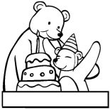 Happy Birthday, Two Bear At Happy Birthday Party Coloring Page: Two Bear at Happy Birthday Party Coloring Page