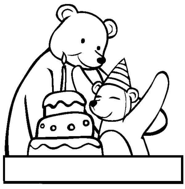 Happy Birthday, : Two Bear at Happy Birthday Party Coloring Page