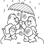 Raindrop, Two Cute Bear Hide From Raindrop Coloring Page: Two Cute Bear Hide from Raindrop Coloring Page