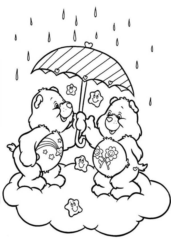 Raindrop, : Two Cute Bear Hide from Raindrop Coloring Page