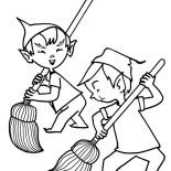 Elf, Two Santa Christmas Elf Coloring Page: Two Santa Christmas Elf Coloring Page