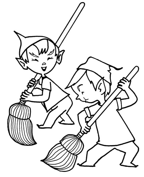 Elf, : Two Santa Christmas Elf Coloring Page