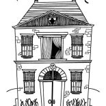 House, Two Stories Haunted House In Houses Coloring Page: Two Stories Haunted House in Houses Coloring Page