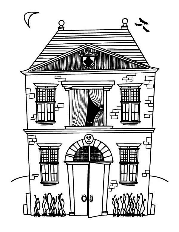 House, : Two Stories Haunted House in Houses Coloring Page